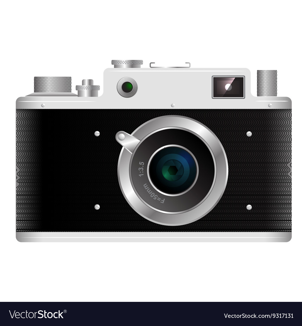 Old rangefinder film camera on a white background