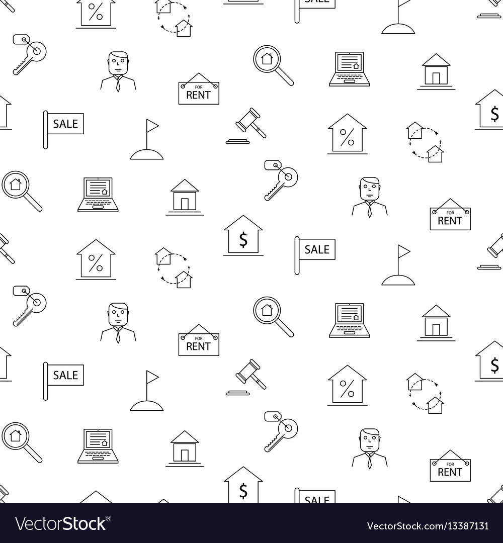 Real estate black and white icon seamless pattern