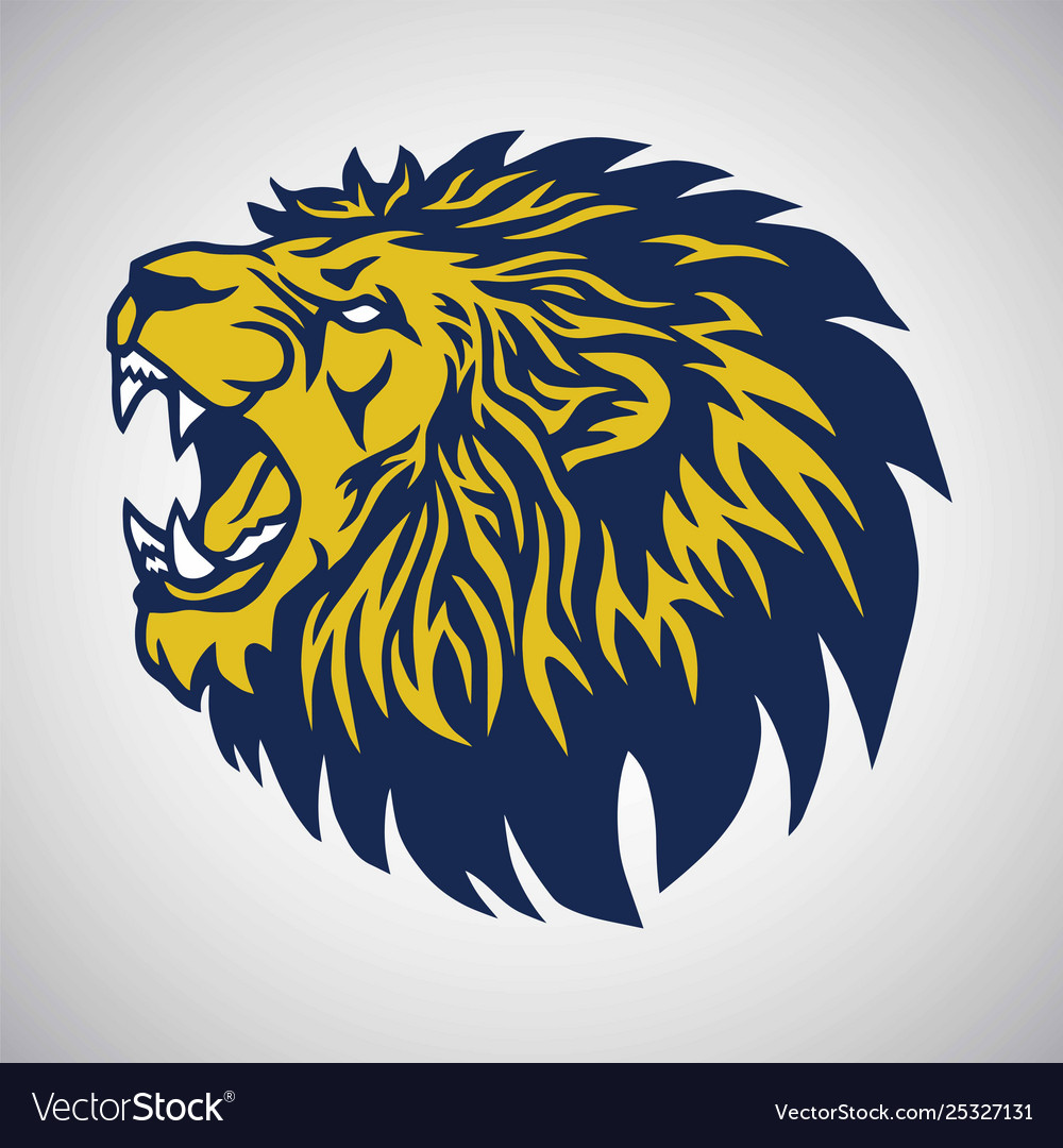 Roaring lion logo blue yellow template