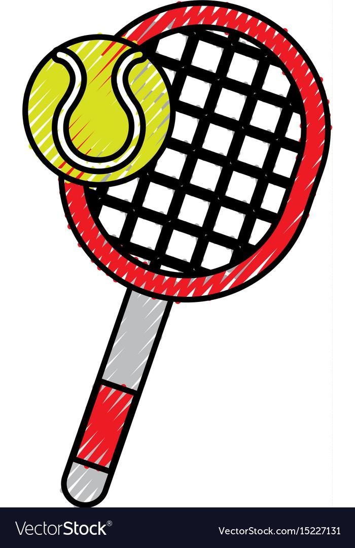 Scribble Tennis Racket And Ball Cartoon Royalty Free Vector