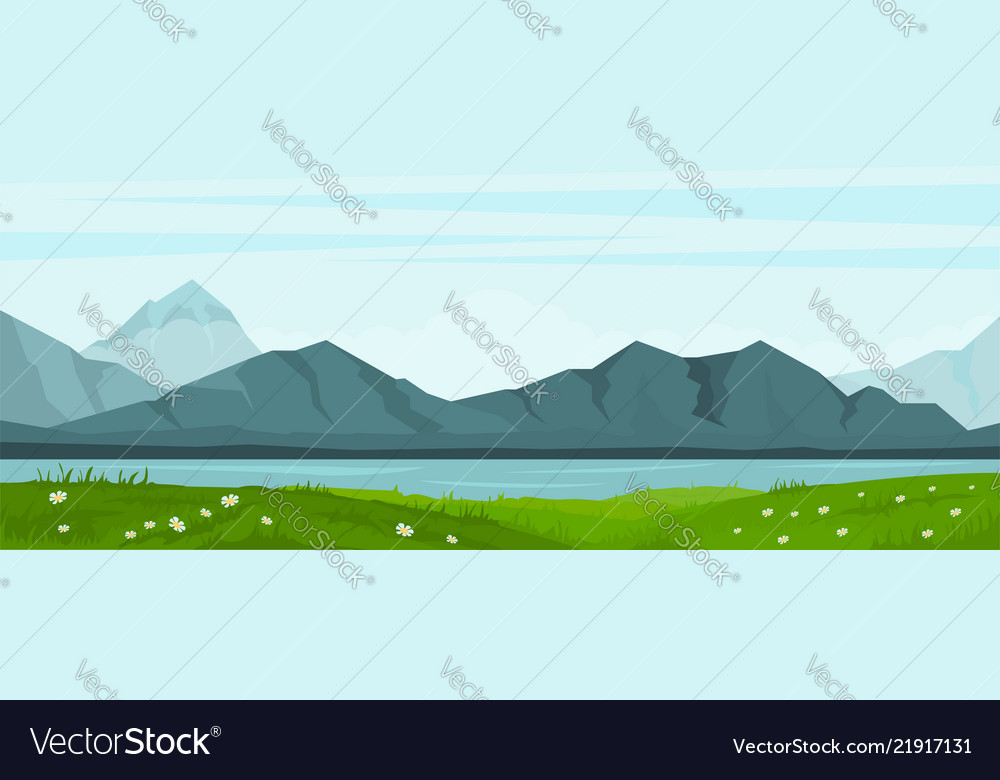 Summer landscape with lake and mountains