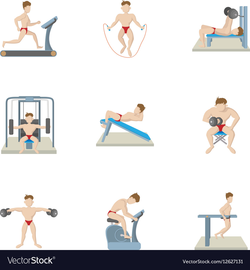 Types of exercises in gym icons set cartoon style