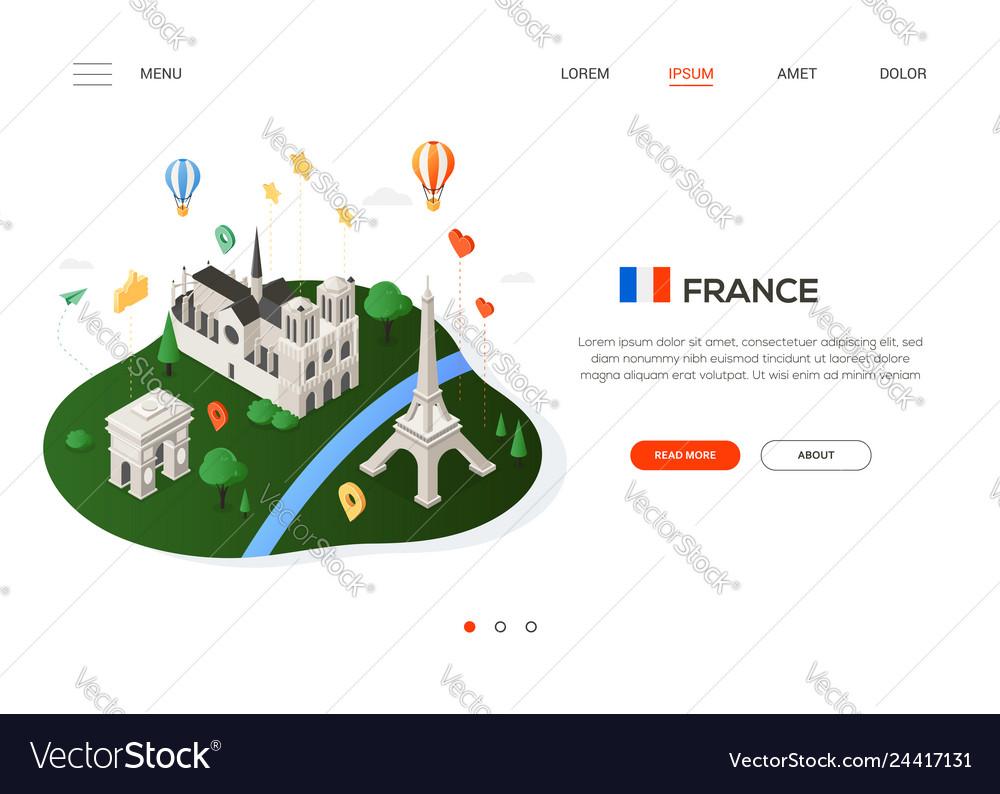 Visit france - modern colorful isometric web