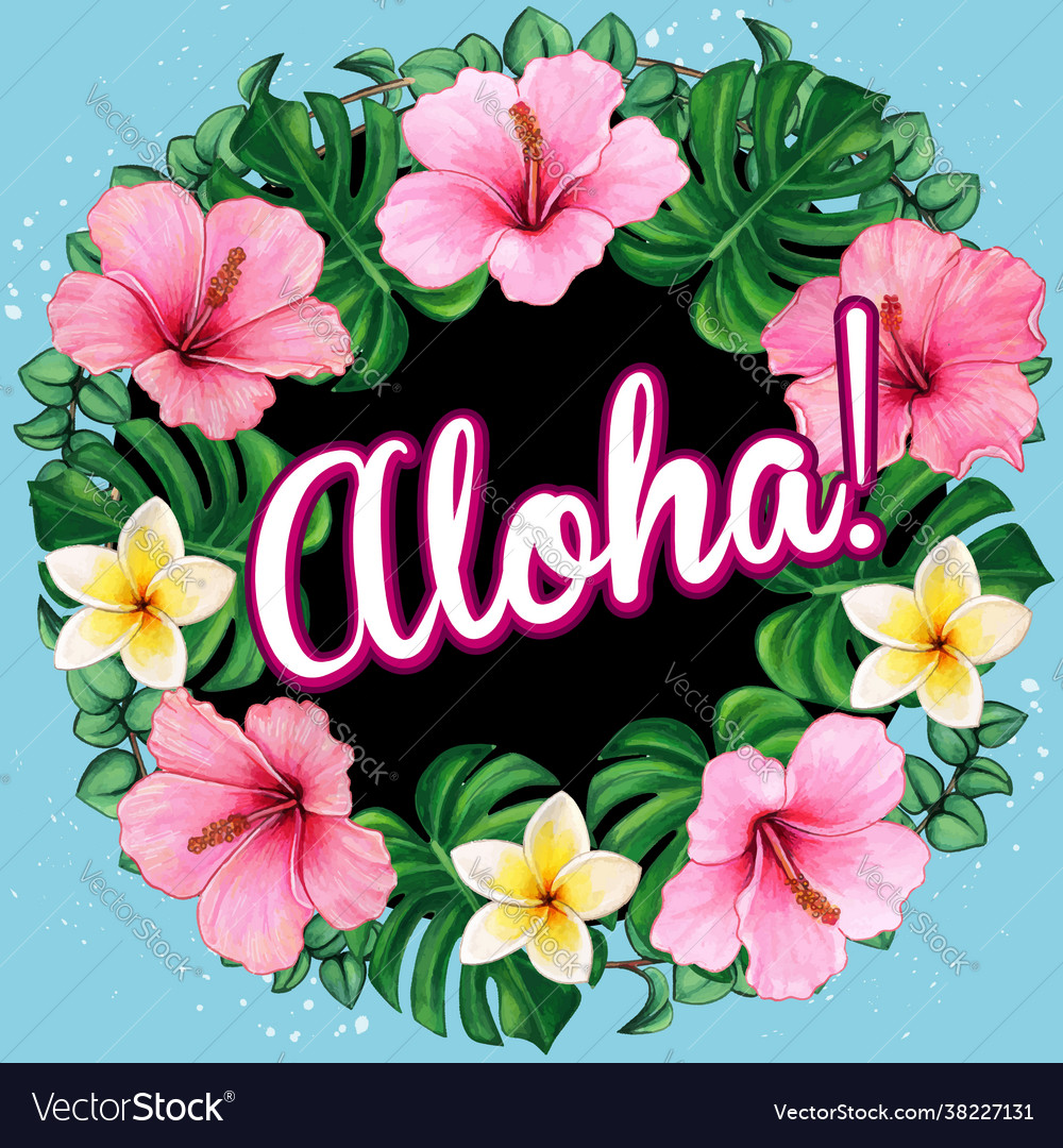 Watercolor hibiscus wreath with aloha message