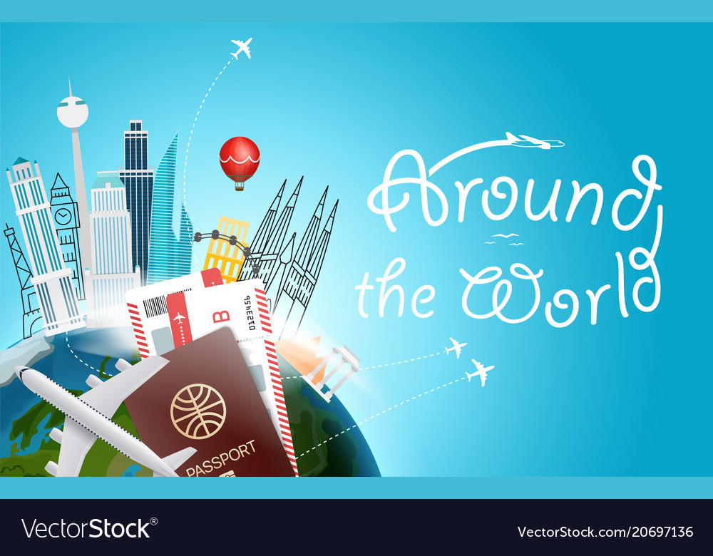 Around the wotld concept with logo travel