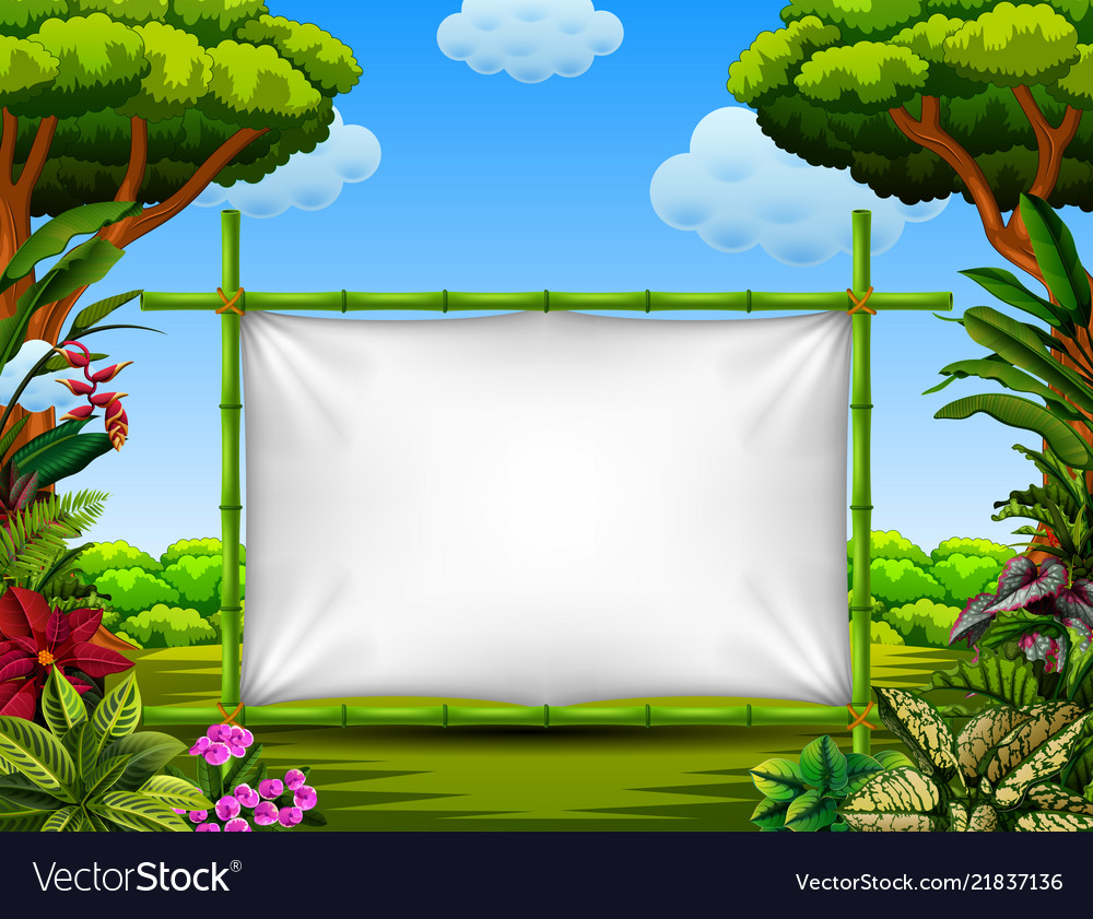 beautiful nature frame with the tree and flower vector image vectorstock