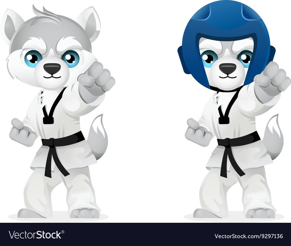 Cartoon husky martial arts