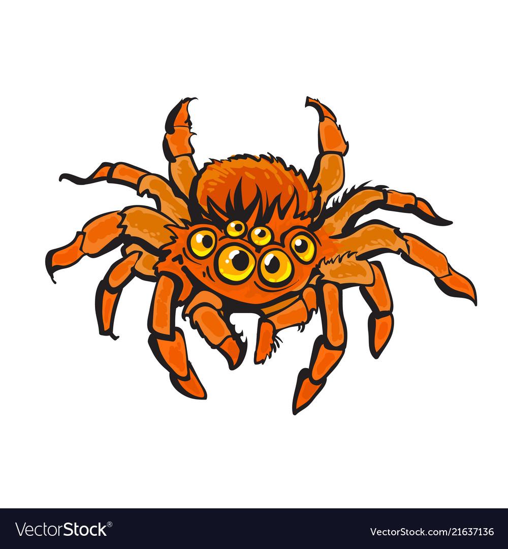 Cartoon red gigantic spider halloween character