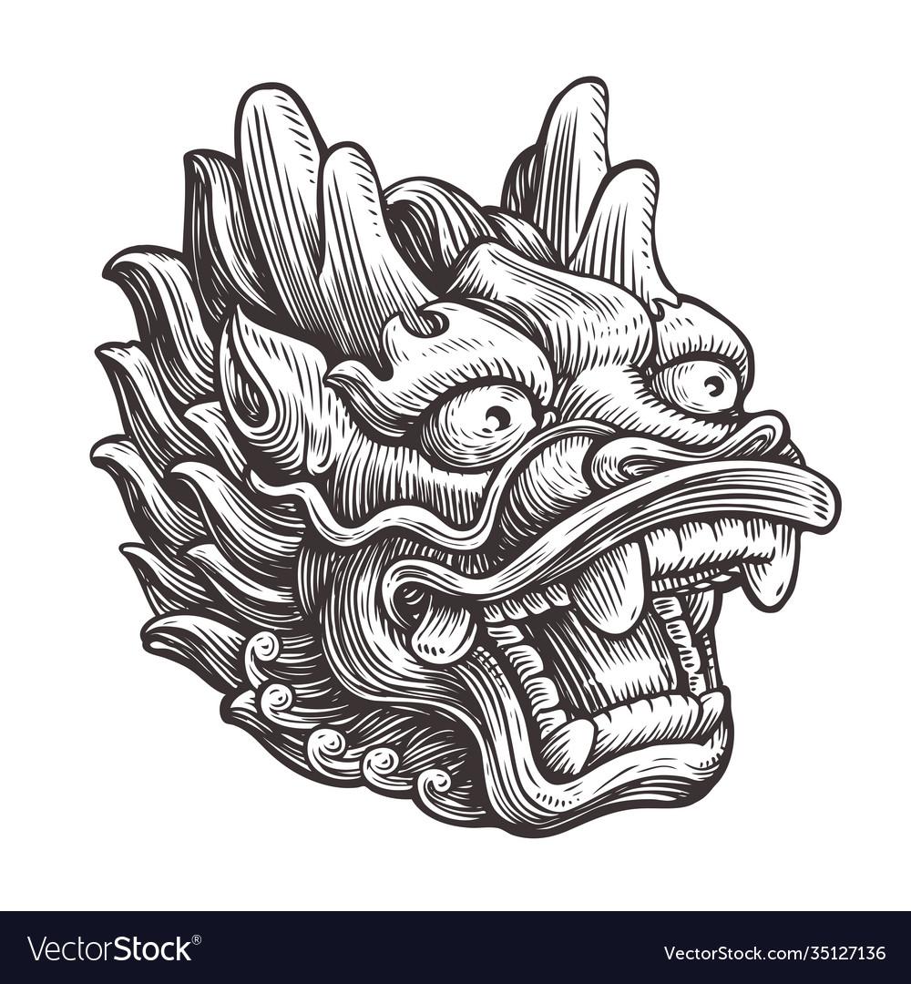 Chinese dragon sketch vintage