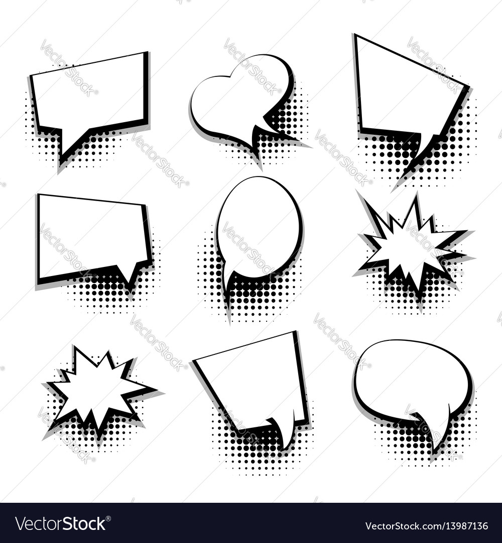 Collection blank comic text template speech bubble