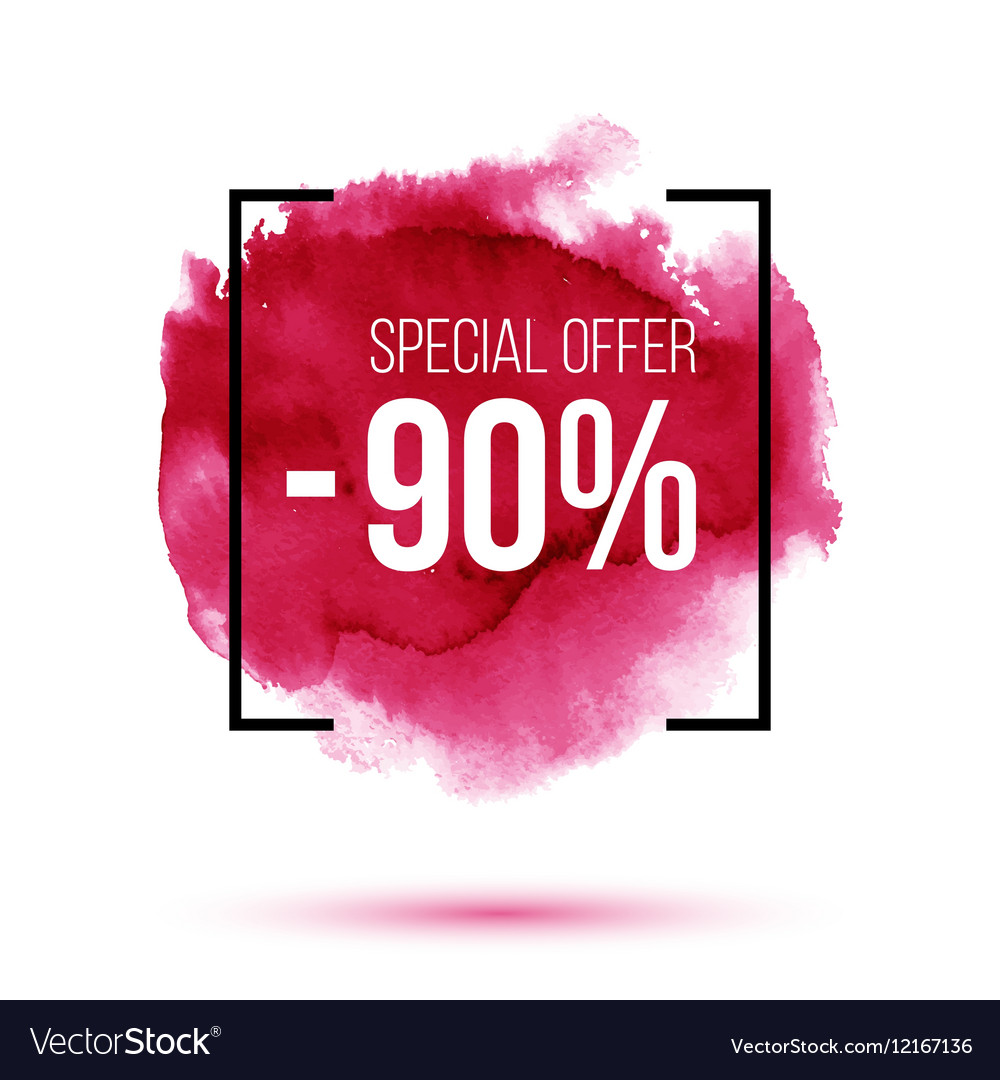 Discount 90 percent off sale on pink watercolour vector image