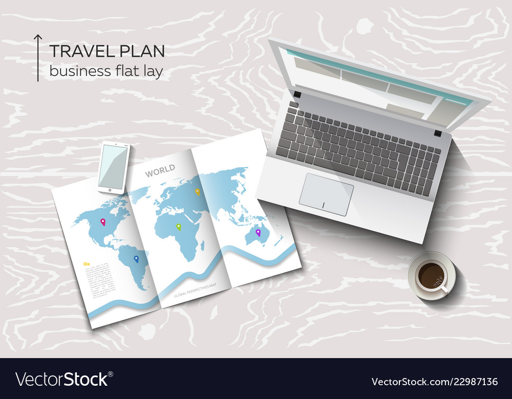 Flat lay concept of business travel planning
