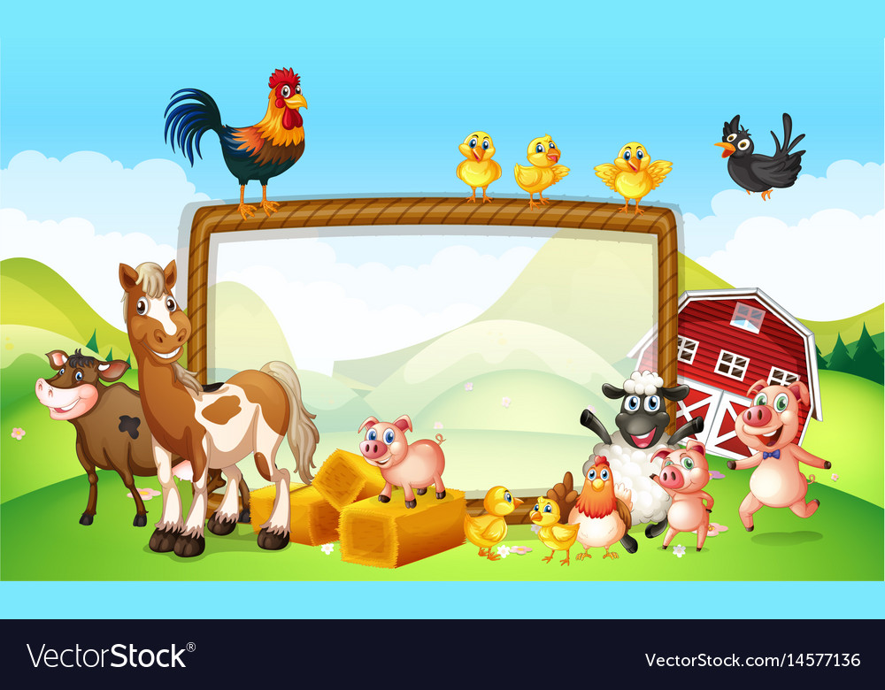 Frame Design With Farm Animals Royalty Free Vector Image