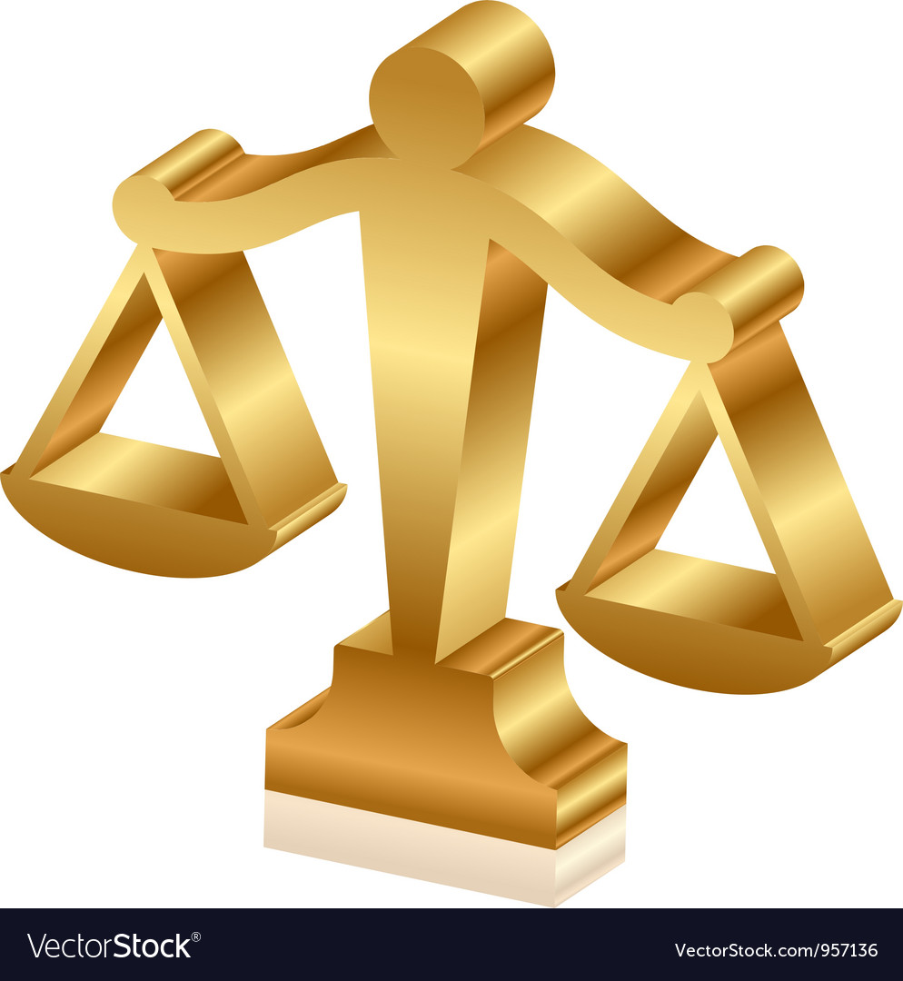 Gold justice scales 3d