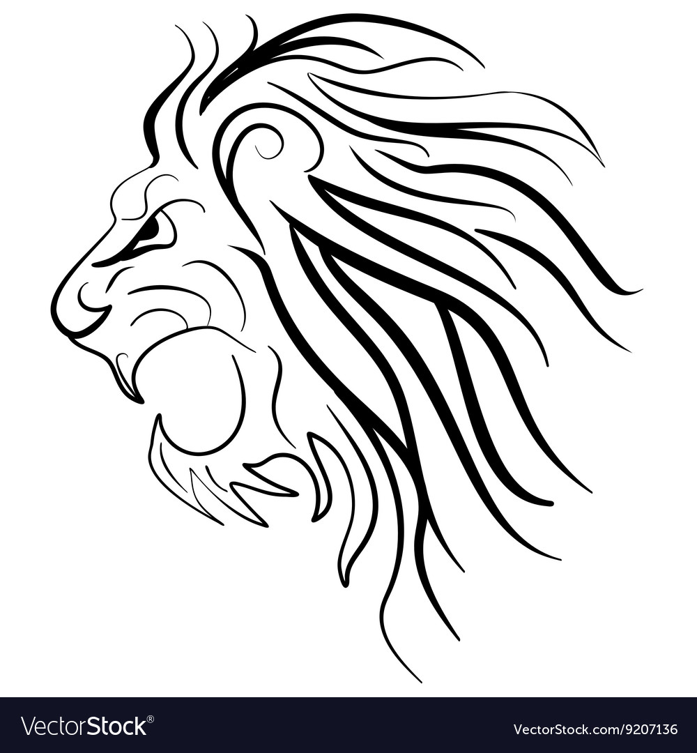 Roaring Lion Outline Face – Lion outline drawing barca fontanacountryinn com.