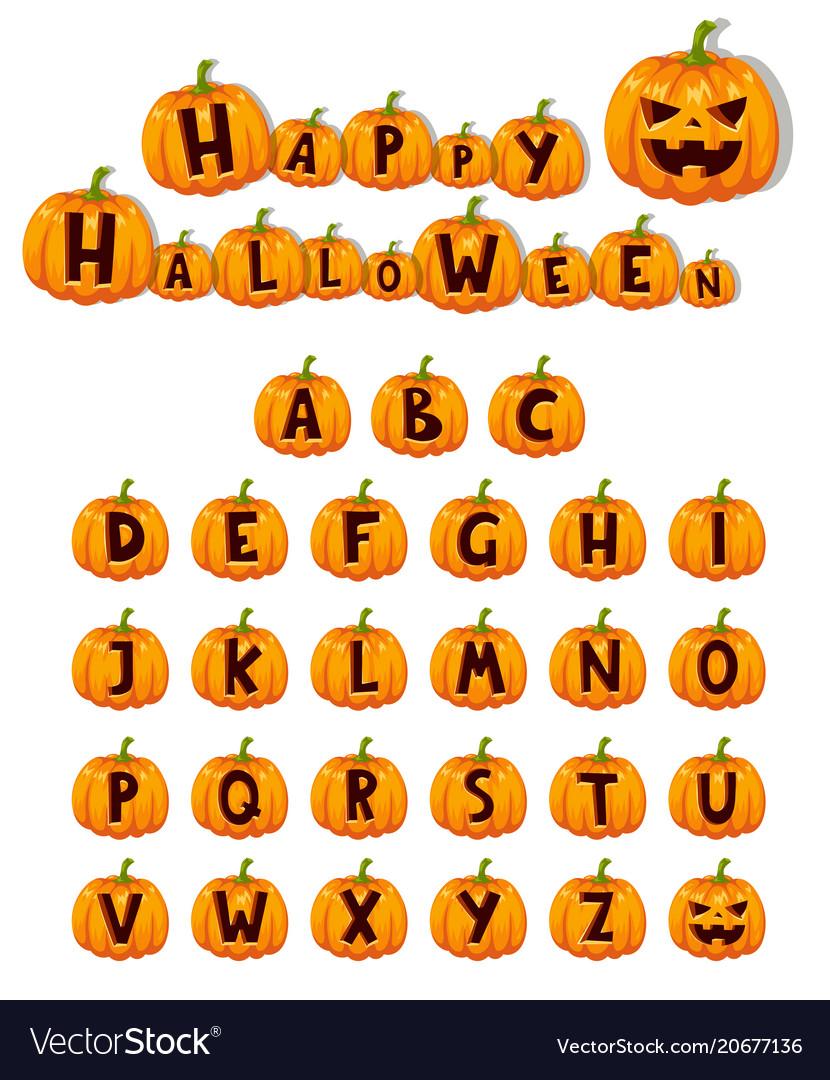 Halloween pumpkin font alphabet text symbols