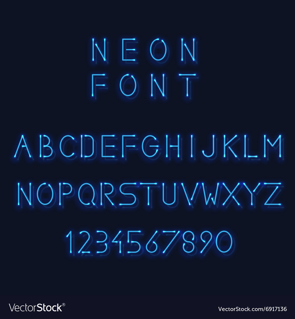 Neon light alphabet letters and number