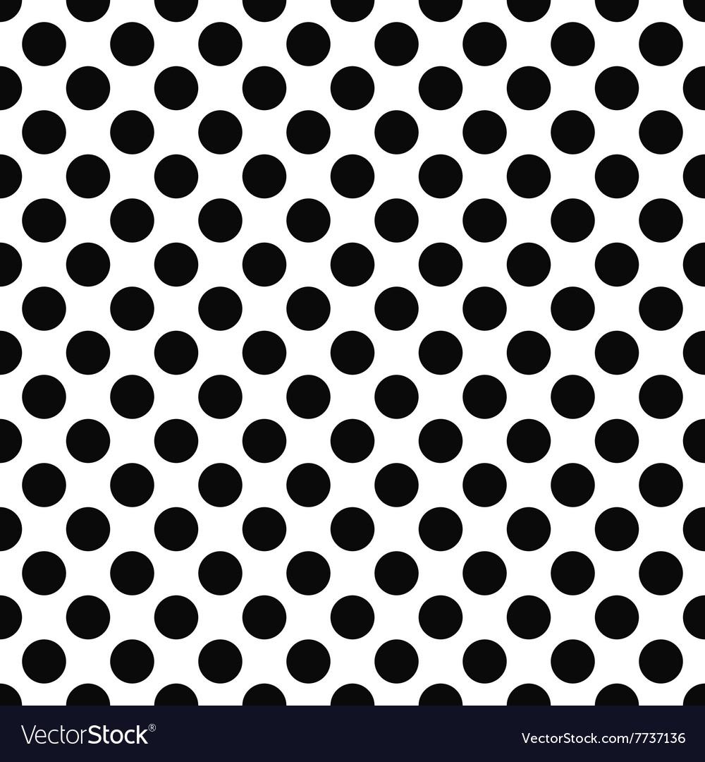 Seamless black white polka dot pattern vector image