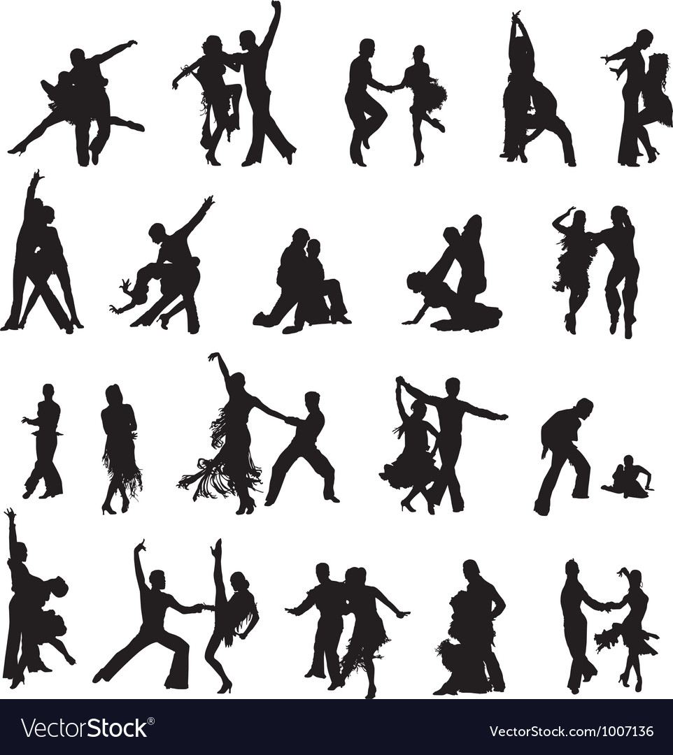 Silhouettes of couples ballroom dancing