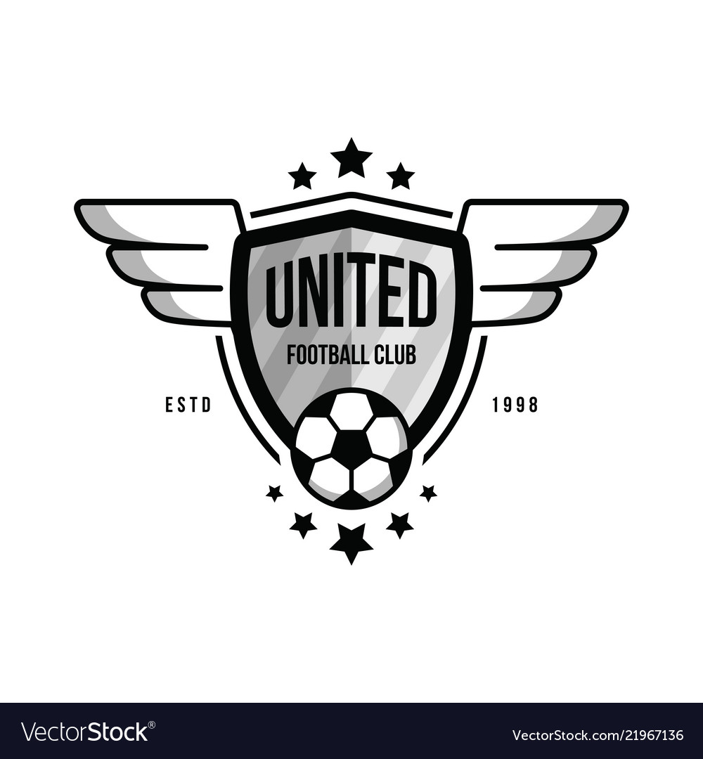 Soccer Team Logo With A Ball And Wings On White Vector Image