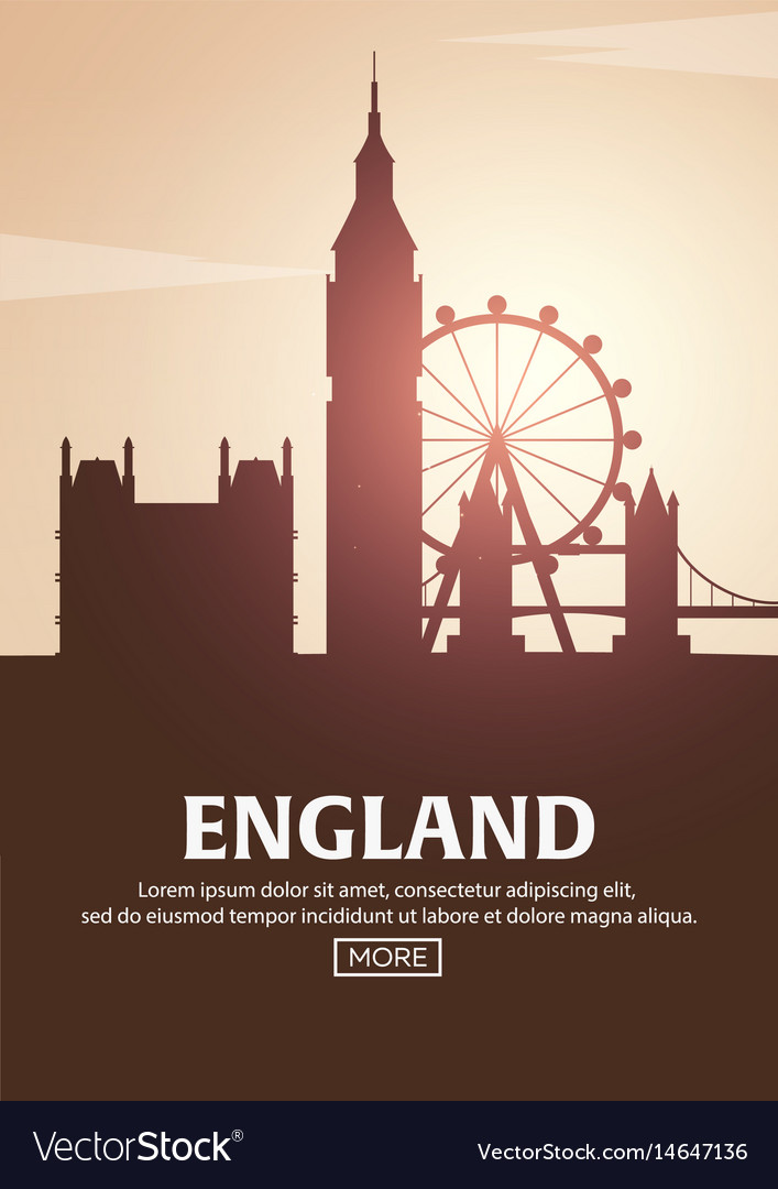 Travel poster to england landmarks silhouettes