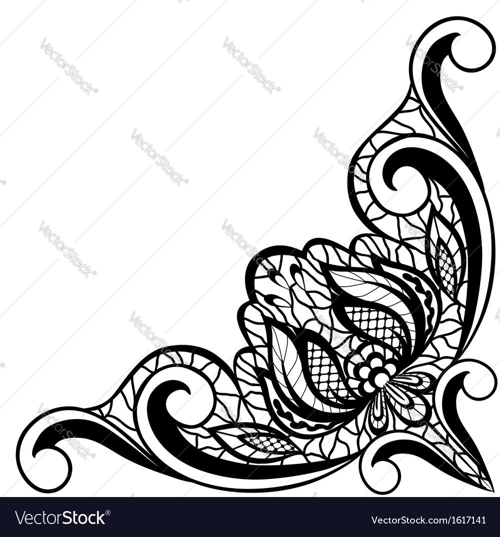 Black and white floral arrangement in border vector image