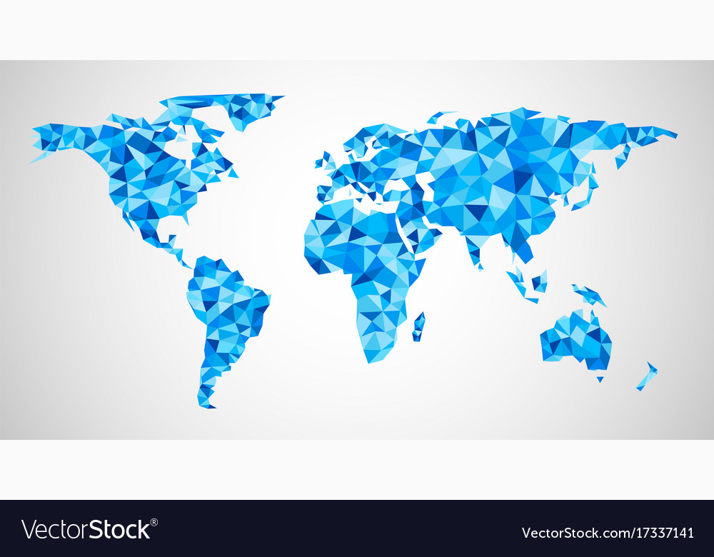 Blue Geometric Abstract World Map Royalty Free Vector Image