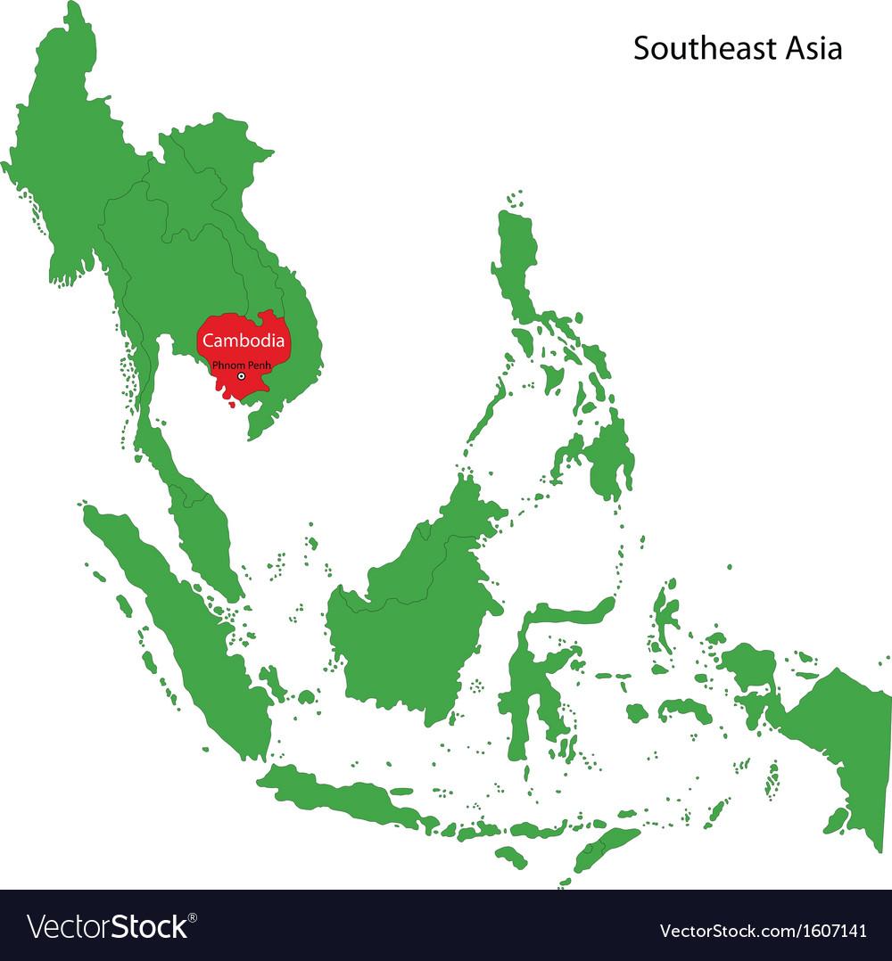 Cambodia Map Royalty Free Vector Image Vectorstock