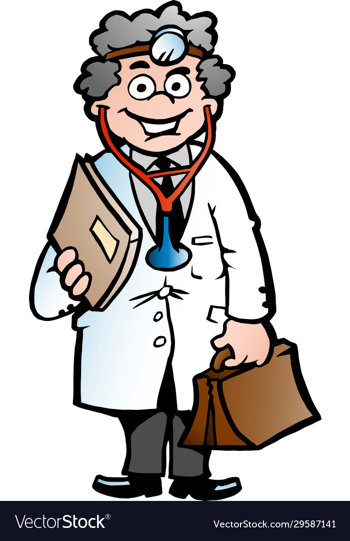 Cartoon a clever professor or doctor