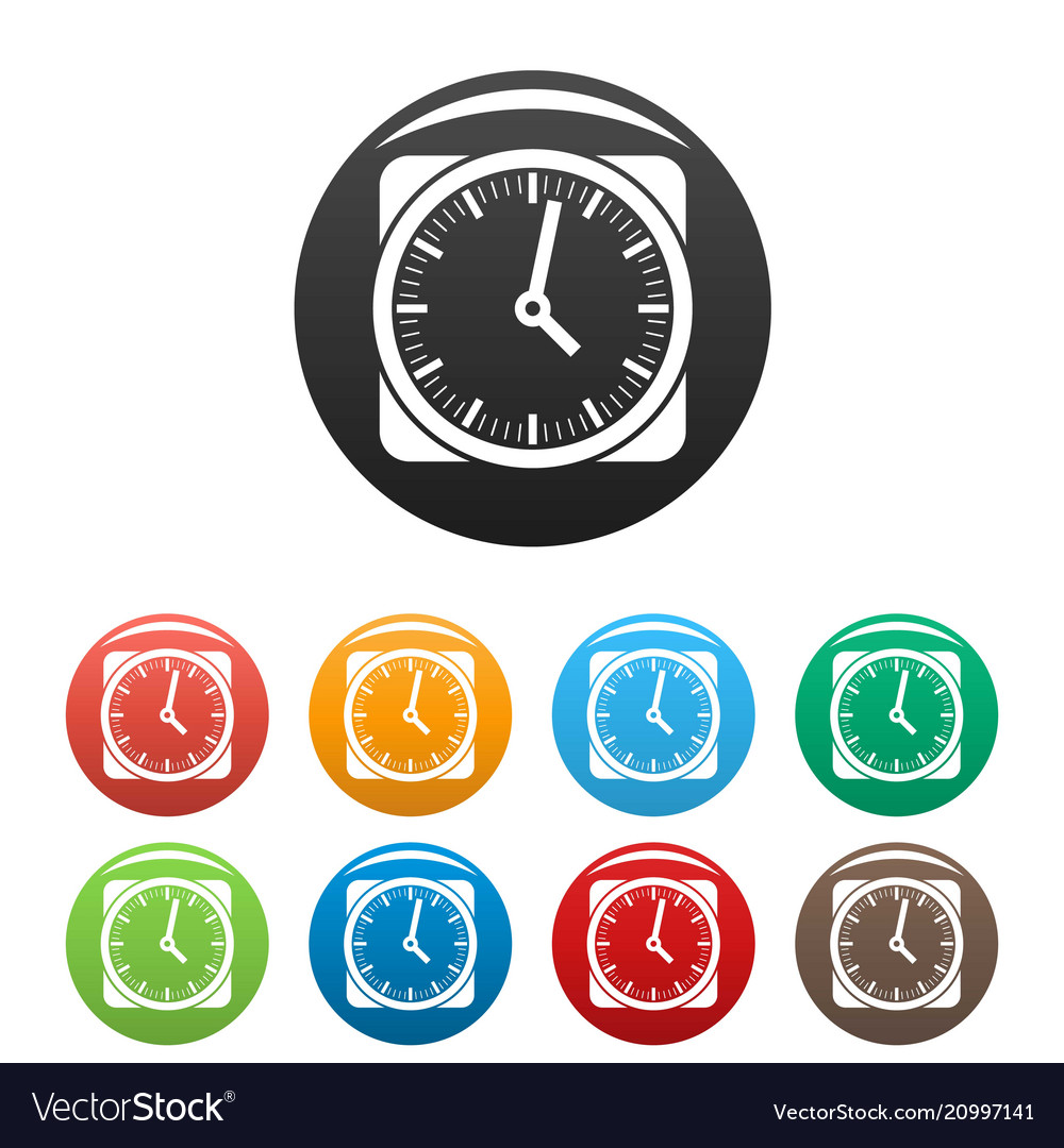 Clock retro icons set color