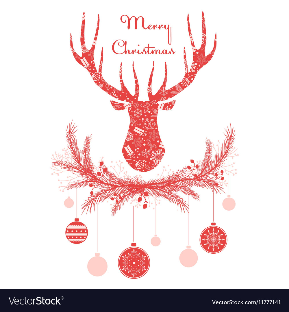Deer head in wreath with Christmas decorations