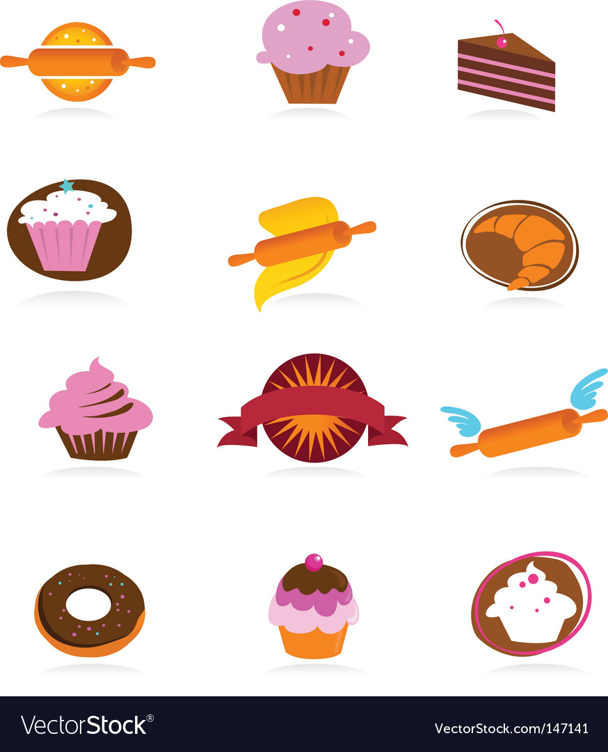 Food and kitchen icons bakery series vector image