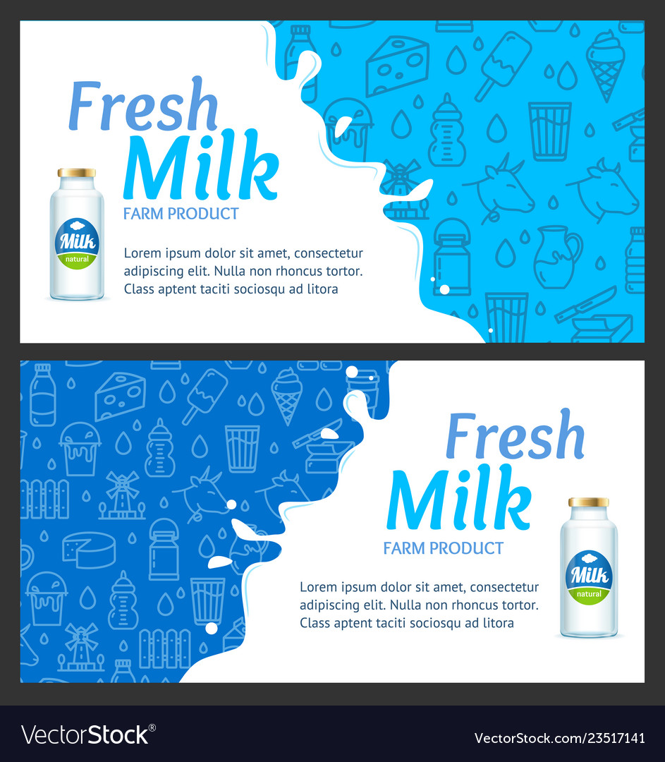 Fresh milk banner horizontal set with realistic