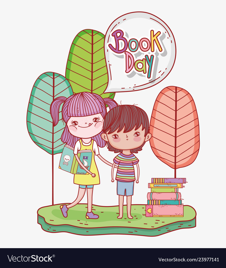 Girl and boy read books information