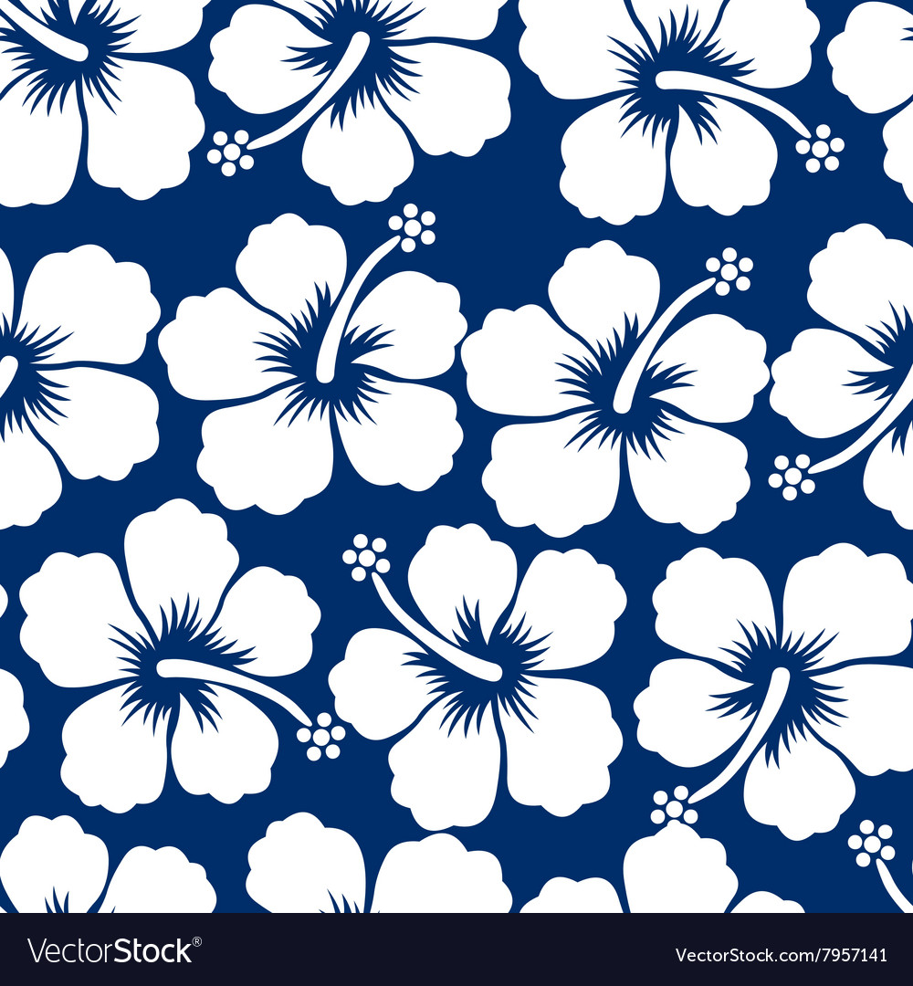 Graphic White Tropical Hibiscus Flowers Seamless Vector Image
