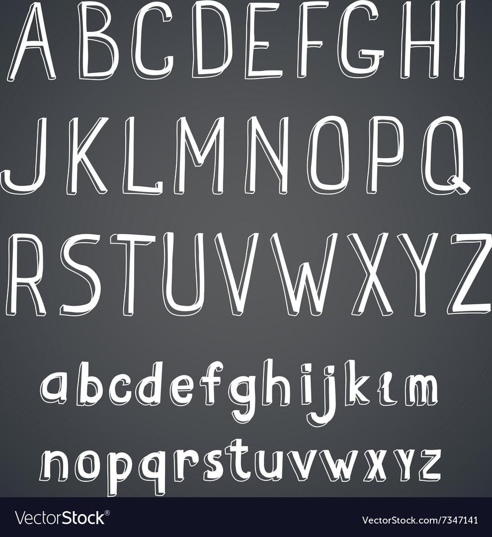 Hand drawn comic retro font white Alphabet