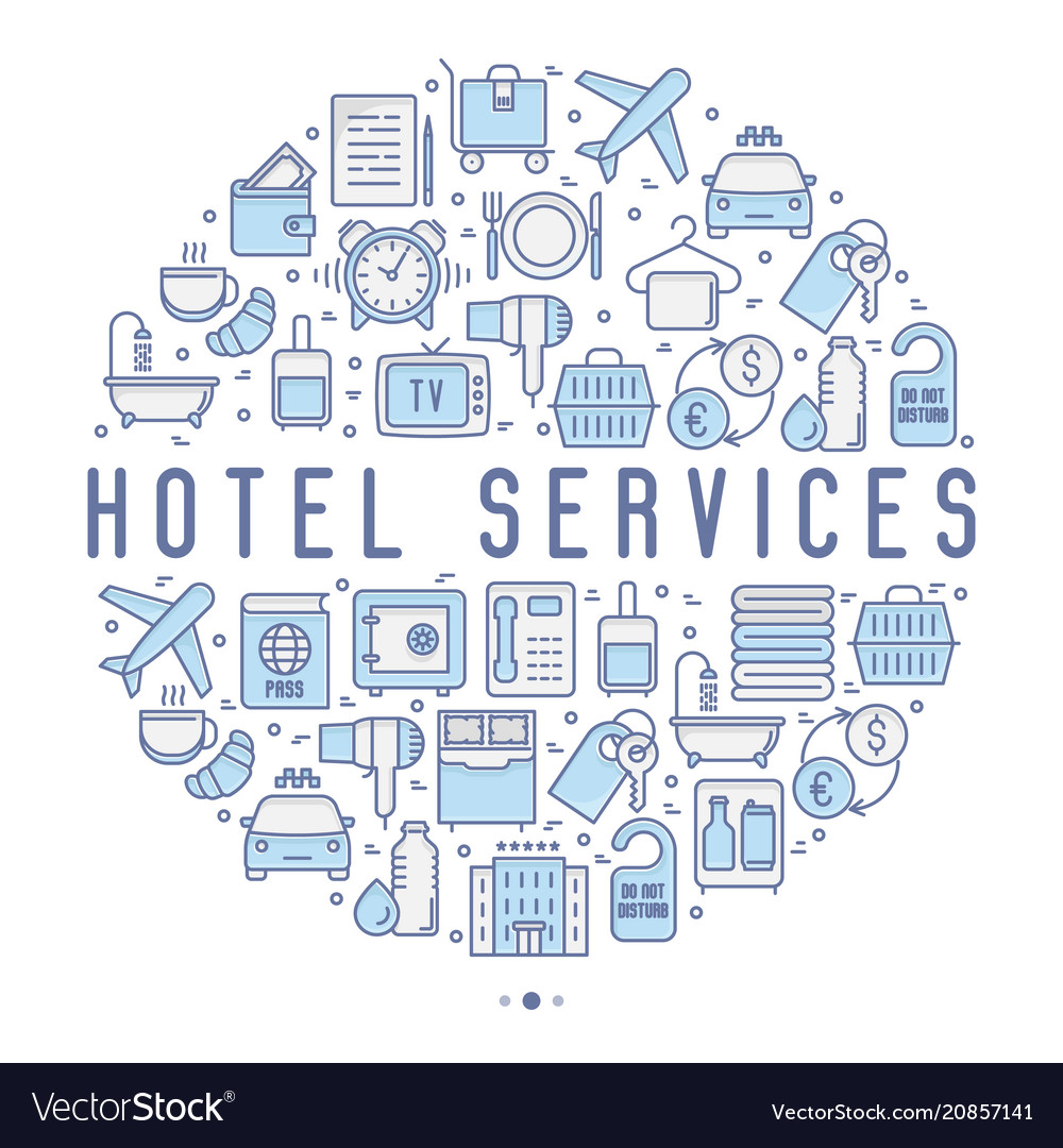 Hotel services concept in circle