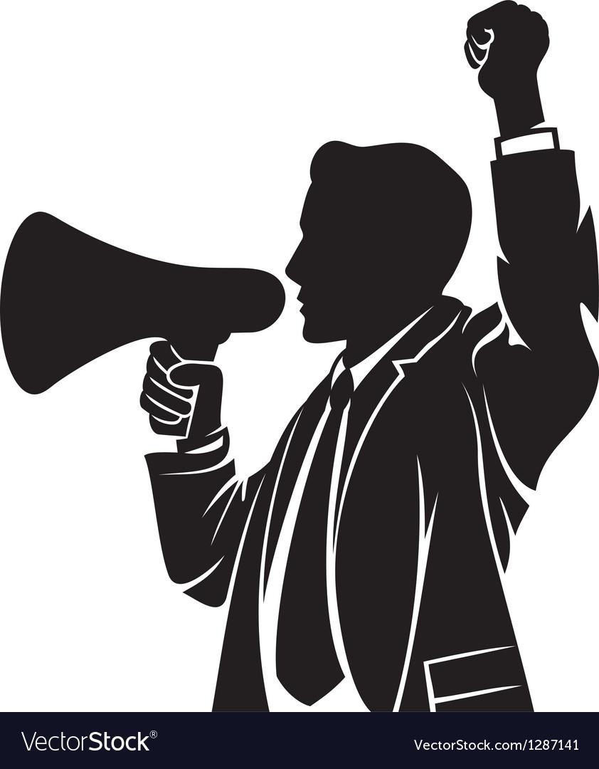 Man speaking in megaphone