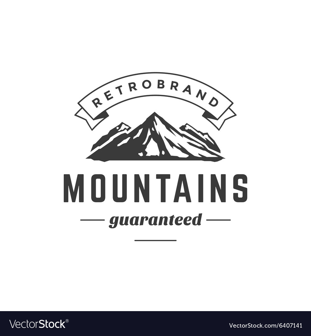 Mountain Vintage Logo Template Emblem High Rock Vector Image