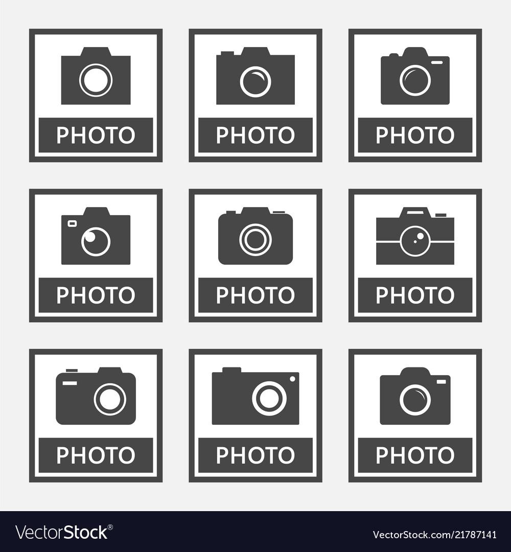 Photo digital camera icons and signs set
