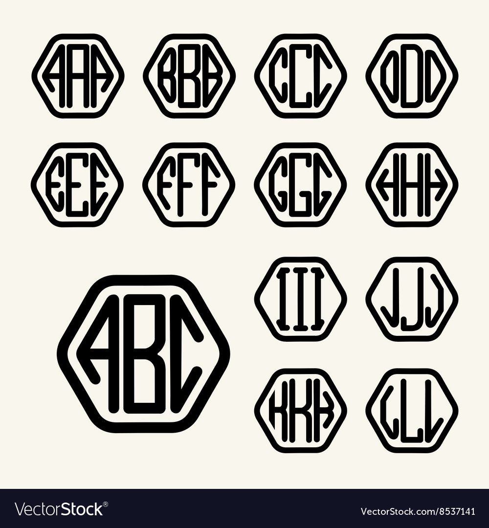 Set 1 template create monogram three letters