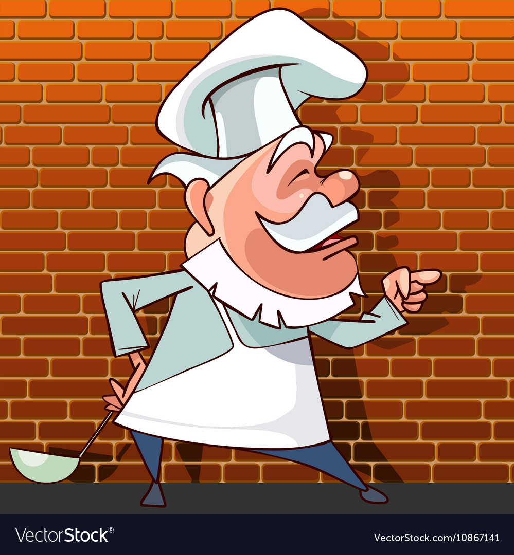 Tells the cartoon cook with a ladle in hand vector image