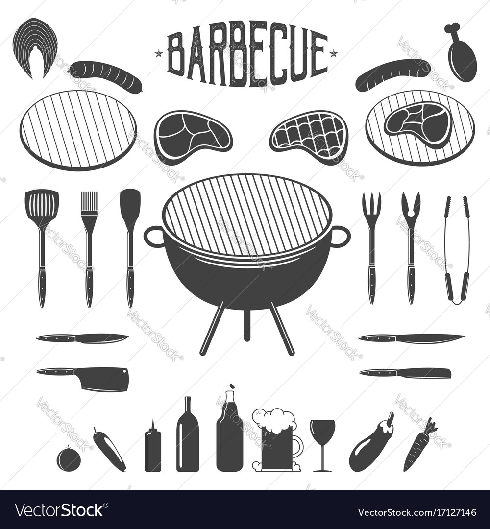 Bbq barbecue and grill design elements equipment