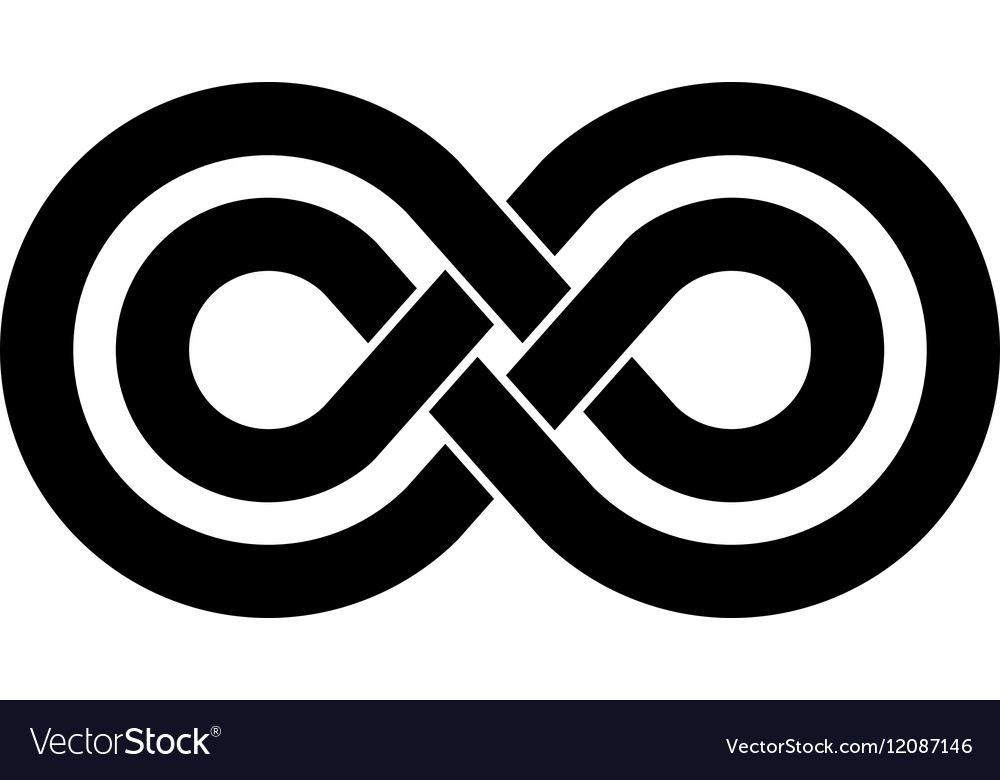 Black infinity crossed lines logo vector image