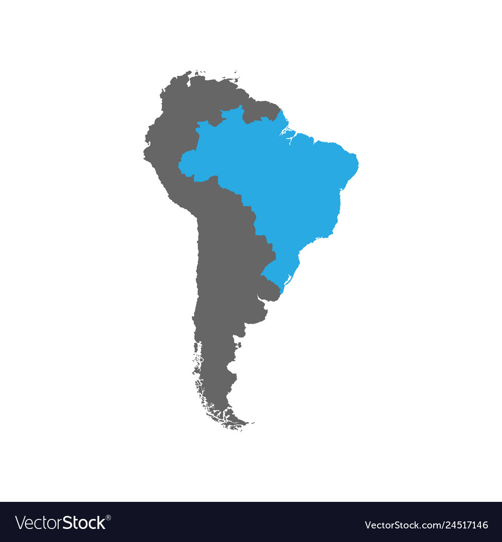 Brazil Is Highlighted In Blue On The South America
