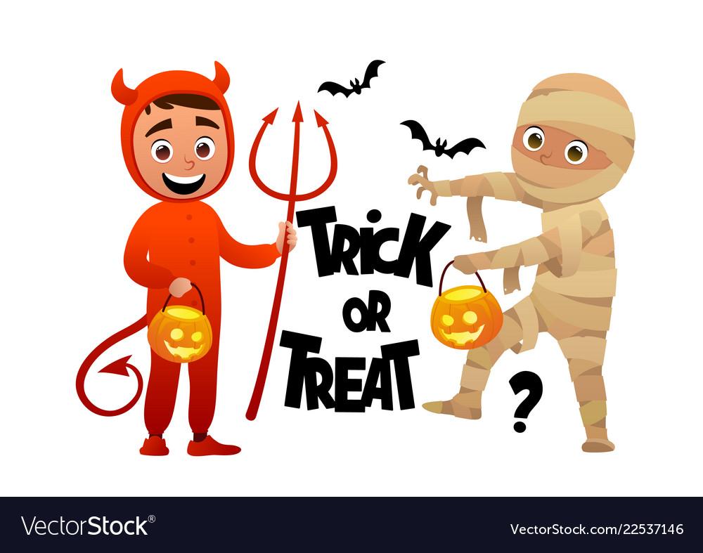 Cartoon children devil and mummy costume trick or