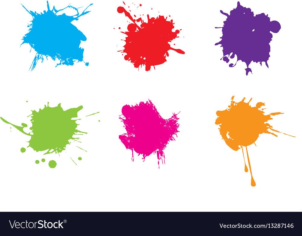 Colorful paint splatterspaint splashes set