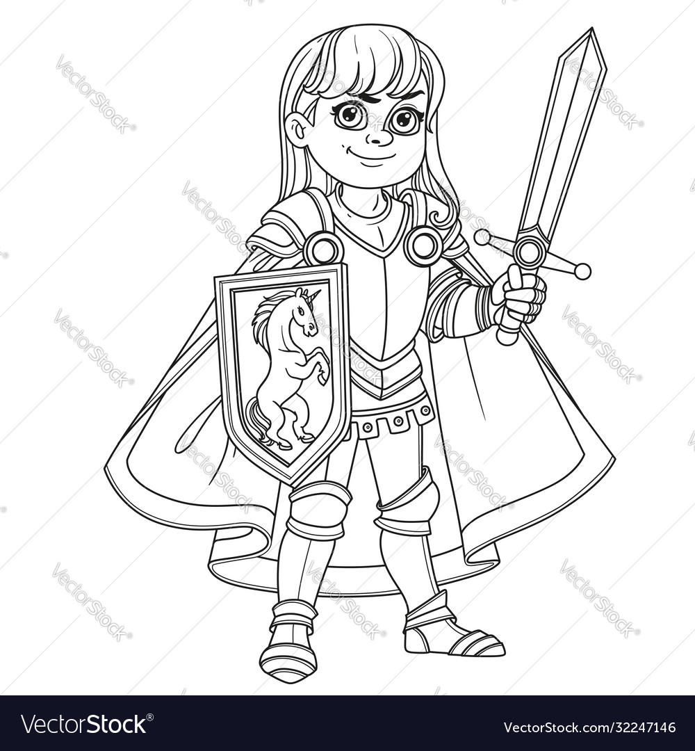 Cute boy in knight or paladin in armor costume
