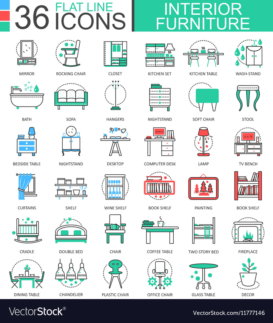 Interior Furniture flat line outline icons