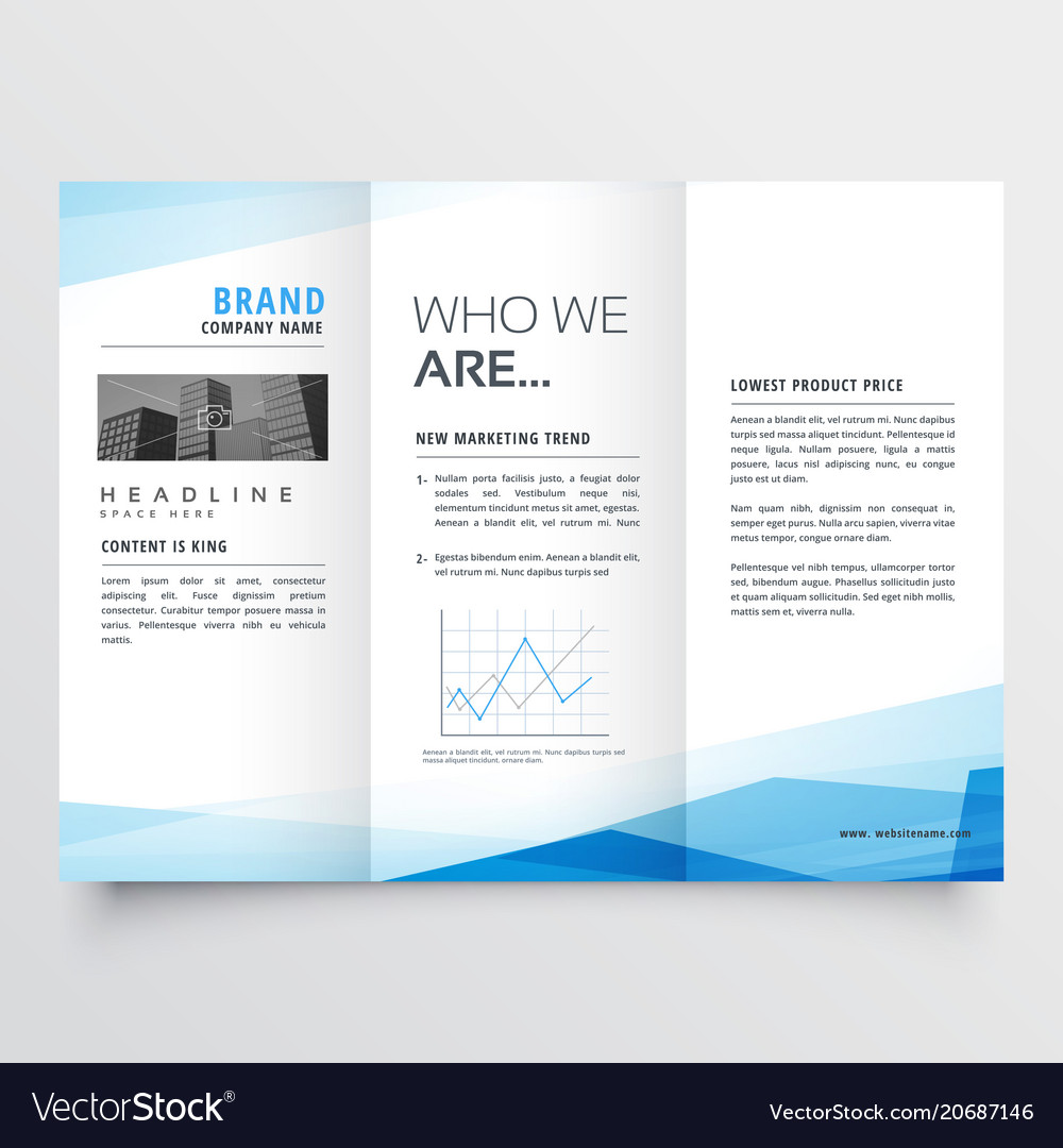 minimal blue trifold brochure layout background vector image